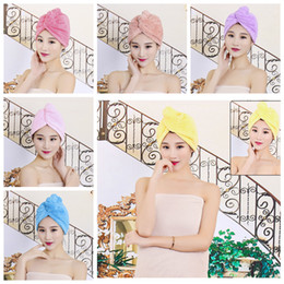 Wholesale towel lady - 6 Colors Quick Solid Dry Hair Towel Absorbing Bathing Shower Cap Hair Drying Ponytail Holder Cap Lady Coral Fleece Hair Hooded Towel AAA666