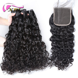 Wholesale remy hair closure piece - xblhair water wave brazilian hair 3 bundles remy human hair extensions and 4by4 top lace closure