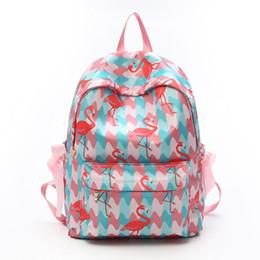 Суконные сумки онлайн-Молодая девушка любит большой емкости фламинго сумка студент досуг галстук-бабочку Оксфорд ткань путешествия рюкзак розовый девушка