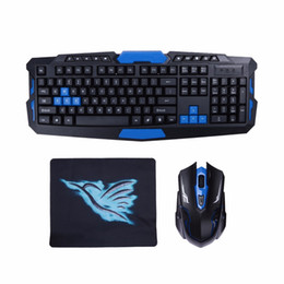 Wholesale wireless pc gaming pad - 2.4G USB Wireless Gaming Keyboard Mouse Combo Set Multimedia Game Gamer Kit with Mouse Pad For Desktop PC Laptop Gamer