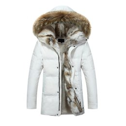 Wholesale Real Fur Coats Men - Wholesale-High quality new arrival men's warm winter outwear real fur collar hooded down jackets thicken fleece lined coats