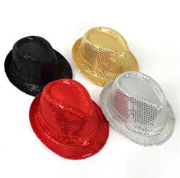 Wholesale Hip Hop Jazz - paillette fedora hat Club Party Baseball Hip-Hop Jazz Dance hat Stage Performance Props cap festival hats