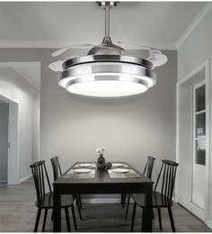 Luces de techo de hoja online-110v / 220v 36 pulgadas 42 pulgadas Sala de estar Moderna Ventilador Blanco Accesorios de luces de techo Hoja de acrílico Led Kit de luz ventilador de techo con control remoto