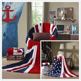 Wholesale wholesale american flannel - USA UK Flag Blanket 150*200cm Comfortable Warm Sofa Cover Single Bedsheet American Flag Plaid Flannel Coral Fleece Throws Blankets OOA4324