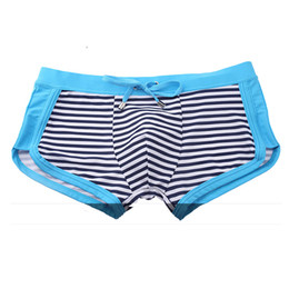 4d335de7ba Striped Men's Swimming Trunks Desmiit Swimwear Men Swimsuit Gay Swim Wear  Low Waist Boxer Shorts Sexy Penis Pouch Sunga Man 2017