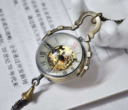 Wholesale Collectible Antique Glass - Work CHINESE BRASS GLASS pocket watch BALL clock