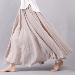 Sherhure 2018 Mujeres Faldas Largas de Algodón de Lino Cintura Elástica Faldas Maxi Plisadas Beach Boho Faldas de Verano de La Vendimia Faldas Saia S916 desde fabricantes