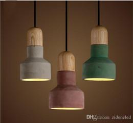 Luz pendant japonês on-line-Estilo japonês led pingente ligth cimento pendurado pingente luzes 3 cor abajur restaurante luzes lustres do vintage