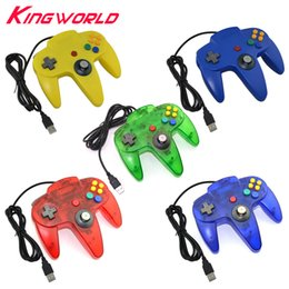 Wholesale Interface Games - 5 Color USB interface Game Controller for PC Gamepad Joystick Not compatible for N64 ( 64 style ) Computer controller