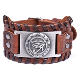 Tende per occhi online-Dropshipping cieco Witchcraft Evil Eye Exorcise Evil Spirits e Good Luck Leather Bracelet