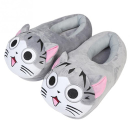 Wholesale Anime Canvas Shoes - 2017 New Cartoon Cat Cotton Slippers Soft Warm Home Slippers For Girls Use Anime Cartoon Plush Stuffed Shoes Cute Winter Shoes