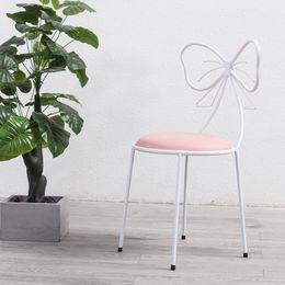 affiche de vêtements de fer Promotion Chaise de maquillage chaise de toilette en fer avec dos bowknot en 3 couleurs pour maquillage ou salon