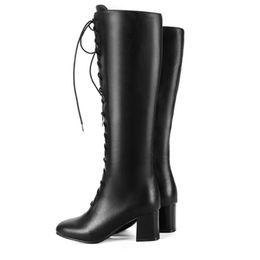Hot Favofans Womens Shoes Cuero sintético Chunky High Heel Zip Lace-Up Botas de rodilla FF-B679 US UK EUR Tamaño personalizado desde fabricantes