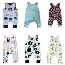 giraffenknöpfe Rabatt Baby Print Strampler Button 30 Design Jungen Mädchen Unicorn Waschbär Sushi Swan Karotte Ballon Giraffe Feder Fox Wassermelone Säuglingsoverall 0-3T
