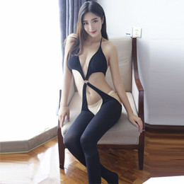 Wholesale Sexy Lingerie Open Crotch Teddy - Women Black Sheer Bodystocking Erotic Open Crotch Bodysuit Teddies Transparent Low Cut Body Stockings Tights Sexy Lingerie