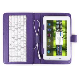 GTFS-Hot Color Purple Cubierta de piel sintética + Teclado MICRO USB Jack + Soporte universal para Tablet PC 7