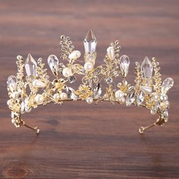 Wholesale Imitation Jewels - Gorgeous Princess 2018 Wedding Crowns Bridal Jewel Headpieces Tiaras For Women Gold Crystal Rhinestone Baroque Hair Headbands 36cm*7cm