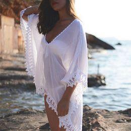 Argentina Vestido transparente de playa Vestido de playa Gasa Encaje Crochet Mini Vestido transparente para mujer Bikini Cover-ups Suministro