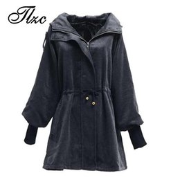 Wholesale Ladies Hooded Wool Coats - Wholesale-British Fashion Women Winter Wool & Blends Jackets Large Size L-3XL Slim Fitting Hooded Design Lady Black Warm Coats