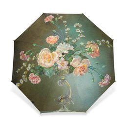 painting for lovers Coupons - Classical 19th Century Watercolor Painting Umbrella 3 Folding Flower Painting Pattern Women Umbrella Automatic for Lover Gift