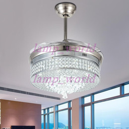 deutschland unsichtbare led crystal deckenventilatoren mit beleuchtung moderne schlafzimmer wohnzimmer falten deckenventilator fernbedienung lampe - Einziehbarer Deckenventilator