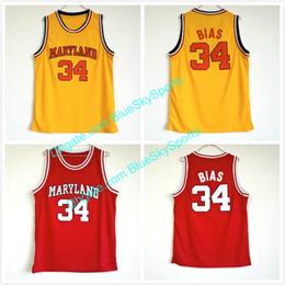 Argentina Hombre Terps de Maryland # 34 Len Bias jersey amarillo rojo cosido Jersey de baloncesto de la universidad Tamaño rápido S-XXL Suministro