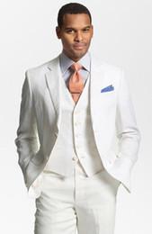 Primavera Custom Made Marfim Homens Ternos Noivo Casamento Ternos Slim Fit Casual Bonito Smoking Padrinhos Melhor Homem Barato (Jacket + Pants + Vest) de