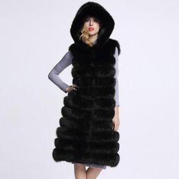 Kunstpelz kapuzenweste online-Öffnen Sie mit Kapuze Front Frauen Sleeveless Kunstpelz Weste Weste gestreiften langen Mantel