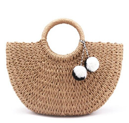Wholesale plain straw beach bag - 2018 New Summer andmade Bags Women Pompon Beach Weaving Ladies Straw Bag Wrapped Beach Bag Moon shaped Bag