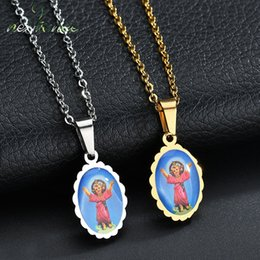 picture chains Coupons - Nextvance Christian Stainless Steel Jesus Oval Christ Pendant Necklaces Art Picture Catholic Necklace Men Women Amulet Gifts