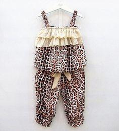 Maglia di leopardo dei capretti online-Summer Kids Leopard Striped Ruffles Tops + Pants 2 pezzi Outfit Abbigliamento per bambini Vest Layered Bow Short Pants Sets Thin Clothing
