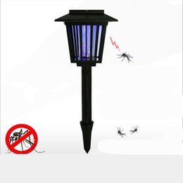 Wholesale Anti Mosquito Light - Summer UV LED Solar Powered Outdoor Mosquito Repeller LED night light Anti Mosquito Insect Pest Bug Zapper Killer
