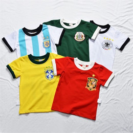 Wholesale christmas cups - World Cup 2018 Kids Clothing Children Football Kits Short Sleeved T shirt Baby Childrens Soft Skin Clothes England FIFA Kids Player Jersey