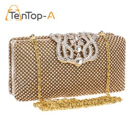 Wholesale crown pouch - TenTop-A Top Quality Crown Rhinestone Evening Bag Two Sided Czech Diamond Party Purse Bling Luxurious Wedding Clutch Bags Pouch
