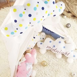 Wholesale Baby Nursery Toys - Hangable Cloud Shaped Pillow Decorative Plush Cloud Pillow Pink Unicorn Blue Check Dot Drop Star Gender Netural Nursery for Baby 030806