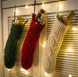 Regalo porta caramelle online-Sacchetto regalo di Natale calza durevole Maglia albero di Natale porta di casa appeso calzini caramella casa giardino decorazione calze