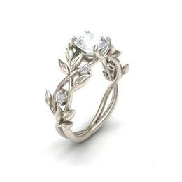 Виноградные кольца онлайн-GEMIXI Women's Silver Floral Transparent Flower Vine Leaf Rings Wedding Gift 4.16