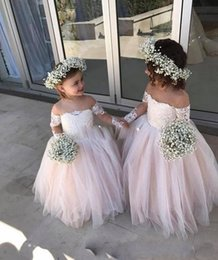 0103912b9 2018 Flower Girls Dresses For Weddings Sheer Neck Long Sleeves Lace  Appliques Illusion Off Shoulder Kids Birthday Girls Pageant Gowns Wear