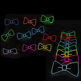 Wholesale Decorations For Masquerade - Universal Luminous Bow Tie LED EL Cold Light Adult Ties For Halloween Masquerade Party Decoration Cravat Hot Sale 20yh B