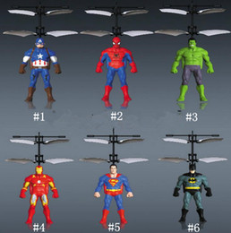 Wholesale iron infrared - Spiderman Iron Captain America RC Helicopter Infrared Induction Kids Action Figures Flying Quadcopter Drone Kids Toys Novelty Items OOA5016