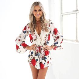 b9510c2599d9 Women V-neck Floral Print jumpsuit Summer Sexy Deep V-neck Floral Print  Shorts Bodysuit Chiffon Jumpsuit Female Romper