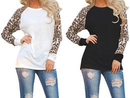 2019 t-shirts lose femme Designer T Shirt Femme 2018 Mode Frauen Leopard T-Shirts Frühling lose Baumwolle Patchwork Langarm T-Shirt Casual Tops T-Shirt Femme rabatt t-shirts lose femme