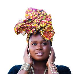 tampas de cabelo africano Desconto Cachecol de tecido de cera quente Africano Tradicional Headwrap Headteca Africano Nigeriano Cachecol Headwear Senhoras Hijab Cap Acessórios Para o Cabelo