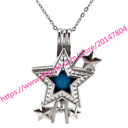 Wholesale Essentials Girls - K610 Star Pearl Cage Locket Necklace Essential Oils Diffuser Daughter Girl Gift