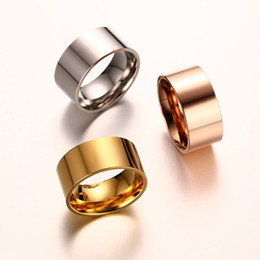 Wholesale Pipe Polishing - Free Engraving 10MM Wide Punk Rock Unisex Gold Rose Gold Silver Plated Stainless Steel Band Ring Pipe Cut Polished Finish US Size 7 8 9