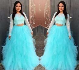 Wholesale Formal Wear Wraps - Two Piece Blue Quinceanera Dresses Sheer Neck Lace And Tulle Two Pieces Dresses Evening Wear A Line Teens Formal Wear Long Sleeve Prom Dress