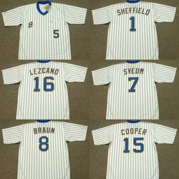 Wholesale Gold Cooper - men youth 1 GARY SHEFFIELD 7 DALE SVEUM 8 RYAN BRAUN 15 CECIL COOPER 16 SIXTO LEZCANO Milwaukee B 1982 Throwback Baseball Jersey