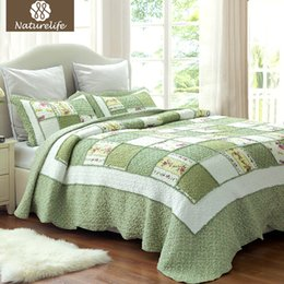 Wholesale Quilt Ruffle - Naturelife Ruffle Pattern Quilt Set Bedspread Bed Cover Quilted Bedding Set Duvet Cover Pillowcase Quilts Warm Coverlet