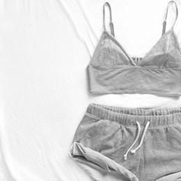 Wholesale Womens Sleepwear Shorts Set - Wholesale- 2017 Fashion Nightwear Set Vest + Short Pants Sleepwear Womens Casual Clothes Underwear 2PCS Pajama Sets