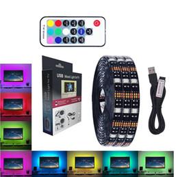 Wholesale mini flat light - LED mood light for TV strips light 5V 2M 1M 5050 RGB strip USB powered lighting with mini RF remote 17 key controller